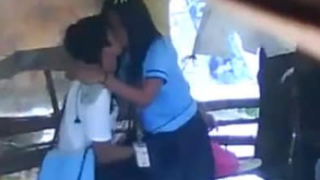High School Student Kissing and Fingering in Bus Stand